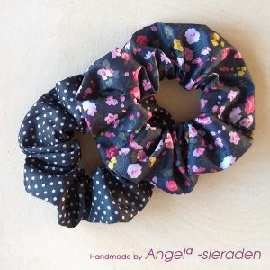 Scrunchies set polkadot bloem